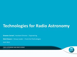 Technologies for Radio Astronomy