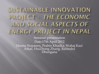 Seminar presentation Date:17th April 2012
