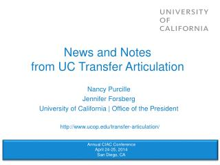 News and Notes from UC Transfer Articulation