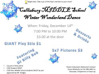 Callisburg  MIDDLE School Winter Wonderland Dance