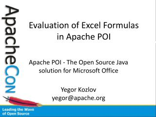 Evaluation of Excel Formulas in Apache POI