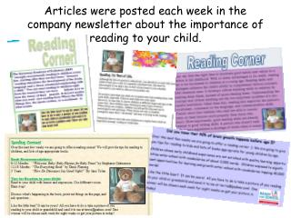 Articles were posted each week in the