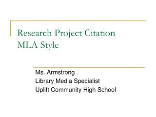 Research Project Citation MLA Style