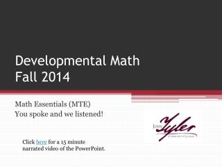 Developmental Math  Fall 2014