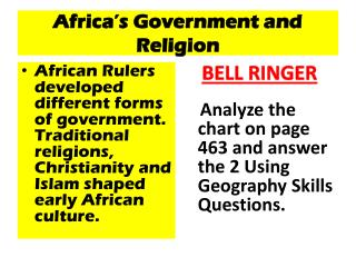 Africa's Government and Religion