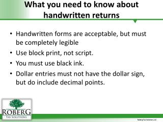 What you need to know about handwritten returns