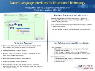 Natural Language Interfaces for Educational Technology