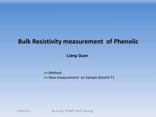 Bulk Resistivity measurement  of Phenolic