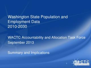 Washington State Population and Employment Data 2010-2030