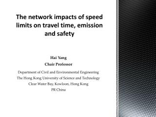 The  network impacts  of speed limits on  travel time, emission and safety