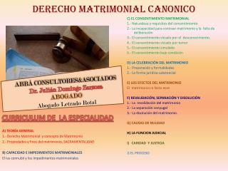 DERECHO MATRIMONIAL CANONICO