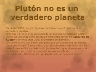 Plutón no es un  v erdadero planeta