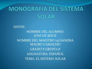 MONOGRAFIA DEL  SISTEMA SOLAR