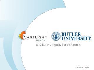 2013 Butler University Benefit Program
