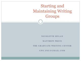 Starting and Maintaining Writing Groups