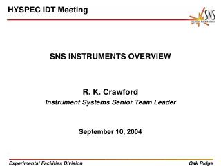 SNS INSTRUMENTS OVERVIEW