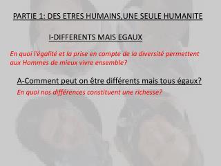 PARTIE 1: DES ETRES HUMAINS,UNE SEULE HUMANITE