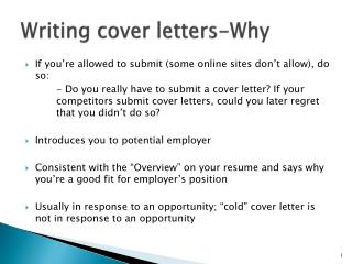 Writing cover letters-Why