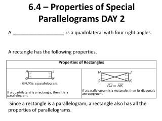 6.4 – Properties of Special Parallelograms DAY 2