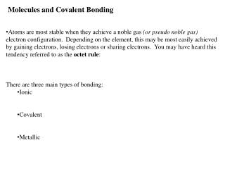 Molecules and Covalent Bonding