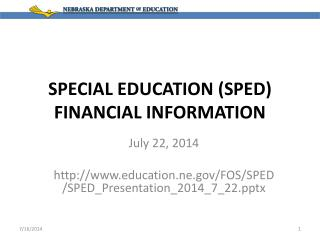 SPECIAL EDUCATION (SPED) FINANCIAL INFORMATION