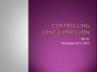 Controlling gene expression
