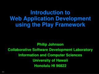 Introduction to  Web Application Development using the Play Framework