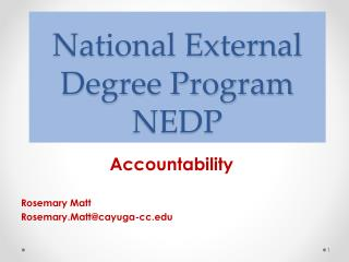National External Degree Program NEDP