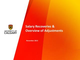 Salary Recoveries &  Overview of Adjustments
