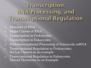 Transcription,  RNA Processing, and Transcriptional Regulation
