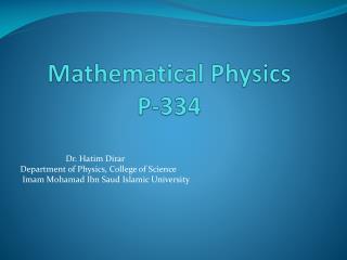 Mathematical Physics P-334