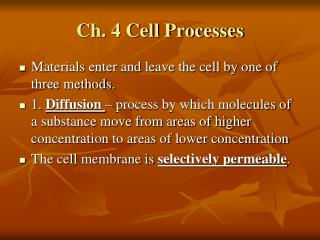 Ch. 4 Cell Processes