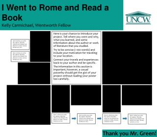 I Went to Rome and Read a Book Kelly Carmichael, Wentworth Fellow