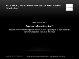 Scan, Import,  and Automatically file documents to Box Introduction