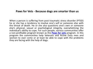 Paws for Vets - Because dogs are smarter than us
