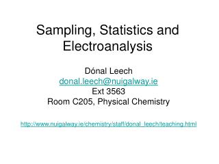 Sampling, Statistics and Electroanalysis
