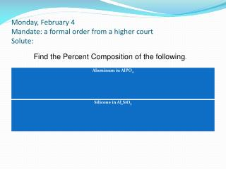 Monday, February 4 Mandate: a formal order from a higher court Solute: