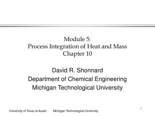 Module 5:  Process Integration of Heat and Mass Chapter 10