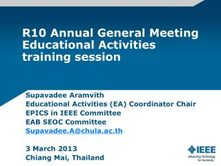R10 Annual General  Meeting Educational Activities training session