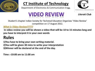 CT Institute of Technology Department of Electronics & Communication  Engg .