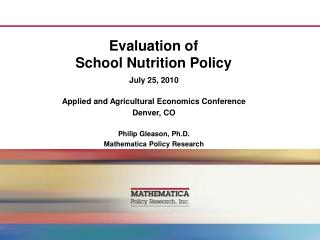 Evaluation of  School Nutrition Policy