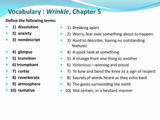 Vocabulary :  Wrinkle ,  Chapter 5