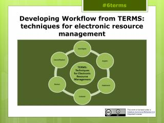 Developing  Workflow from TERMS: techniques for electronic resource  management