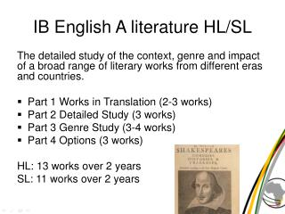 IB English A literature HL/SL