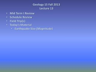 Geology 15 Fall 2013  Lecture 13