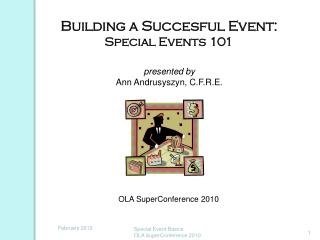 Building a Succesful Event: Special Events 101 presented by Ann Andrusyszyn, C.F.R.E.