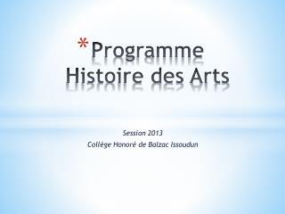 Programme Histoire des Arts