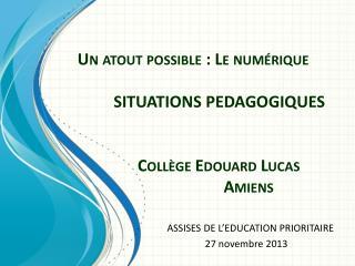 ASSISES DE L�EDUCATION PRIORITAIRE  27 novembre 2013