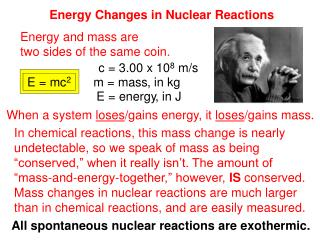 Energy Changes in Nuclear Reactions