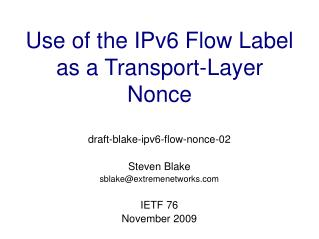 Use of the IPv6 Flow Label as a Transport-Layer Nonce